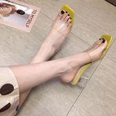 拖鞋女夏外穿新款時尚水晶跟透明一字無後跟懶人鞋粗跟涼拖女 亞斯藍