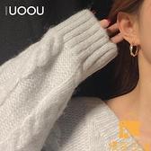 耳釘韓國復古金色纏繞耳環女氣質個性顯臉瘦耳圈歐美百搭極簡風【慢客生活】