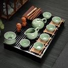 整套茶具套裝家用功夫陶瓷茶杯子實木茶盤茶海茶道配件茶藝wl11754[黑色妹妹]