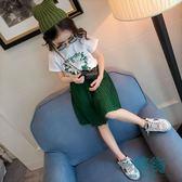 女童套裝兒童夏裝短袖t恤小女孩洋氣童裝百褶半身裙兩件套雪紡裙【一條街】