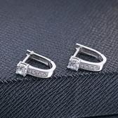 耳環 925純銀鑲鑽銀飾-大方鑲鑽生日情人節禮物女飾品73dy167【時尚巴黎】