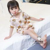 一件85折-寶寶夏季睡衣家居服男女兒童薄款冰絲短袖套裝衣服潮