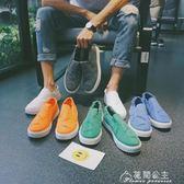 夏季男士休閒鞋韓版一蹬鞋學生透氣樂福鞋青年懶人鞋花間公主