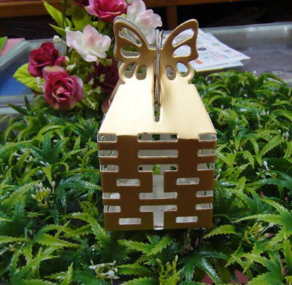 (免費摺喜糖盒)《雙喜蝴蝶剪影鏤空喜糖盒/100個》*喜糖/桌上禮/送客禮/二次進場