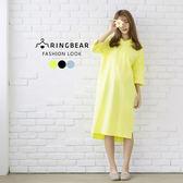 休閒洋裝--韓版運動休閒棉質透氣素色連帽長版連身洋裝(黑.藍.黃L-3L)-D475眼圈熊中大尺碼