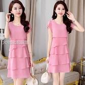 短袖洋裝21夏季新款大碼短袖女韓版寬鬆顯瘦遮肚層層雪紡中長款連身裙女 快速出貨