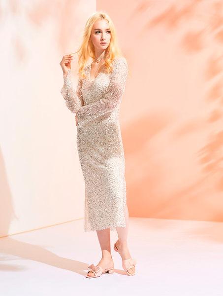 ★2019春夏★時尚膠片 蝴蝶結膠片造型圓跟拖鞋(白色) -Ann系列