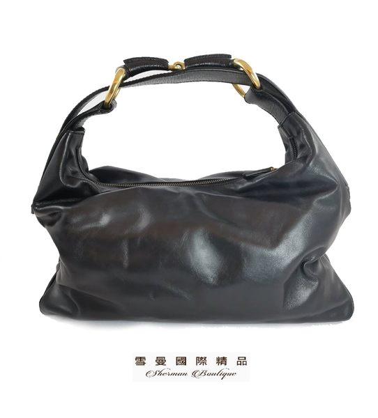 【雪曼國際精品】 GUCCI  黑色115867 牛皮馬蹄皮革造型肩背包.現貨~二手商品(9成新)