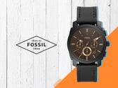 【時間道】FOSSIL Machine 機械風格三眼計時腕錶/黑面茶玻黑皮帶(FS5586)免運費