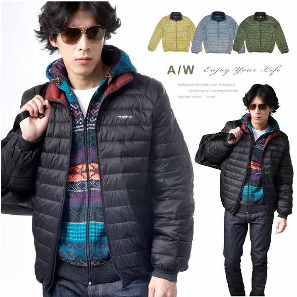 【大盤大】(D398) 黑色 羽絨衣 輕量 冬 羽絨外套 保暖外套 雙色夾克 男 女 立領 防風 有加大尺碼