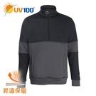 UV100 防曬 抗UV 昇溫保暖-開襟拼接休閒立領上衣-男