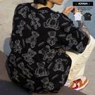 短T 歐美街潮滿版塗鴉小熊印花 落肩短T【VT592】寬鬆短袖 美式 小熊 青山 oversize 情侶