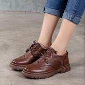 手工真皮女鞋35~40 2020英倫風百搭頭層牛皮雕花低跟紳士鞋鞋~2色