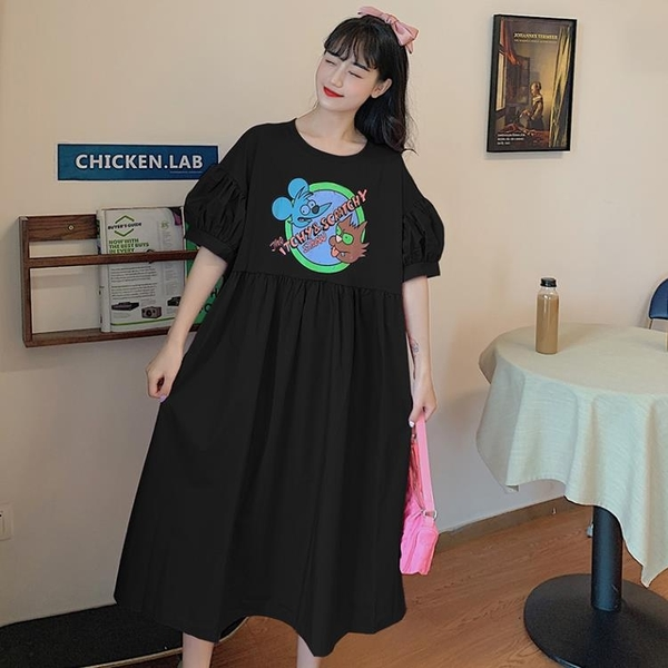 L-4XL胖妹妹大碼洋裝連身裙~寬松大碼胖mm韓版bf風中長款卡通T恤裙拼接連身裙女3F061A衣時尚