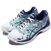 【六折特賣】Asics 慢跑鞋 Gel-Cumulus 18 LE 白 藍 圖騰 避震透氣 運動鞋 女鞋【PUMP306】 T780N0149