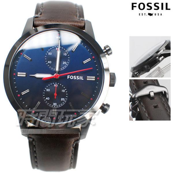 FOSSIL 雙環設計 多功能計時碼錶 男錶 漸層藍黑色 防水手錶 精品 真皮錶帶 FS5378