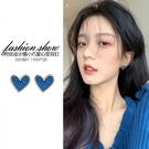 耳環 藍色愛心耳環2021年新款潮韓國氣質網紅耳釘圓臉顯瘦大氣時尚耳飾 晶彩 99免運