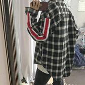 韓國INS復古紅白織帶格子長袖襯衫 18ss男女款 【全館好康八五折】