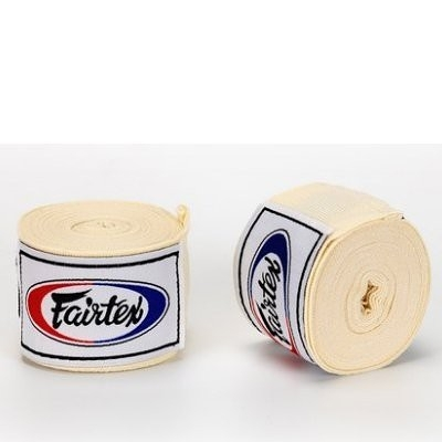 『VENUM旗艦館』Fairtex 泰拳 拳擊手綁帶 BOXING Hand Wraps 手綁帶5米 微彈性 - 米白色