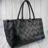 BRAND楓月 Bottega Veneta BV 603817 黑色 寬編織皮革 藍色內裡 CABAS 托特子母包