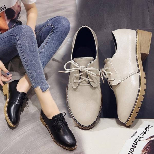 牛津鞋 2021秋季新款復古英倫系帶圓頭小皮鞋中跟單鞋粗跟牛津鞋大碼女鞋 霓裳細軟
