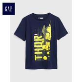 Gap男童 Marvel復仇者聯盟系列印花短袖T恤 兒童上衣 487311-海軍藍色