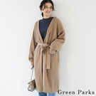 「Winter」腰際綁結長版開襟針織罩衫 - Green Parks