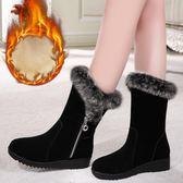 中筒靴冬季雪地靴女2018新款平底女士中筒保暖加絨防滑大碼短靴厚底棉鞋/米蘭世家