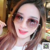 太陽鏡 不規則茶色太陽眼鏡女式 防紫外線墨鏡優雅眼睛 韓版潮復古原宿風 雙11狂歡
