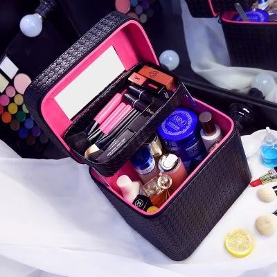 大容量化妝包雙層便攜手提化妝箱大號簡約化妝品收納盒旅行小方包 【PINKQ】