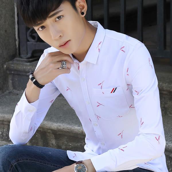 秋季學生韓版襯衫 男士羽毛長袖修身襯衣【非凡上品】cx338