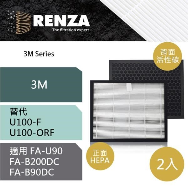 【南紡購物中心】RENZA濾網 適用3M U100-ORF U100-F FA-U90 B200DC B90DC 空氣清净機 濾芯 2入