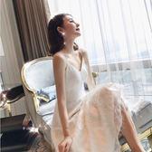 吊帶連身裙名媛氣質長袖中長款高腰打底裙2019新款女裝V領 伊蒂斯女装