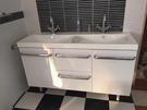 【麗室衛浴】 美國KOHLER IDOL系列  一體成型人造石雙盆檯面盆K-45767T-0 +台製浴櫃