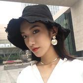 日系毛邊牛仔漁夫帽女夏季遮陽帽休閒帽子磨邊盆帽可折疊水洗布帽  巴黎街頭