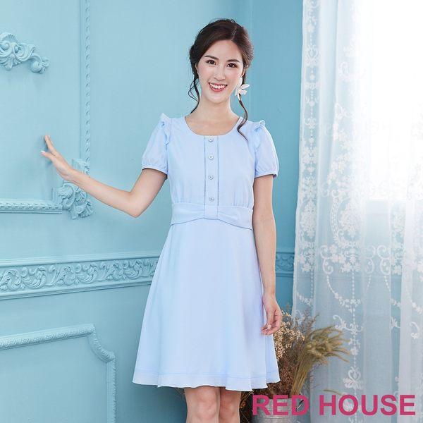 Red House 蕾赫斯-小花釦荷葉素面洋裝(共2色) 滿2000元現抵250元