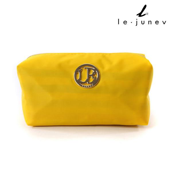 le-junev 金色圓牌彩虹化妝/手拿包-黃色 (L1183-Yellow)