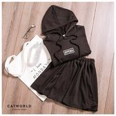 Catworld 正韓空運*英文字抽繩帽T加鬆緊腰短裙兩件組【16600212】‧F