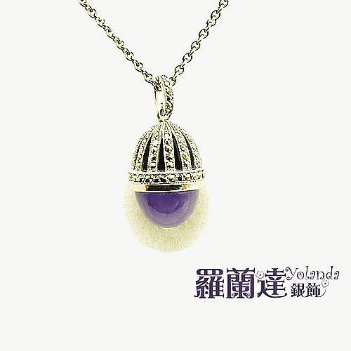 項鍊925純銀。紫玉髓。復古系列。立體蛋形。【羅蘭達銀飾】