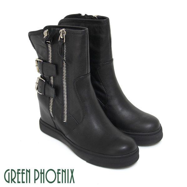 U28-25201女款內增高短靴 義大利原裝進口金屬扣環刷色仿舊油臘牛皮內增高短靴【GREEN PHOENIX】MJUS