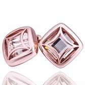 耳環 純銀鍍18K金 水晶-方形復古生日情人節禮物女飾品73cg206[時尚巴黎]