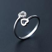 戒指 925純銀鑲鑽-迷人雙心生日情人節禮物女開口戒73dt699【時尚巴黎】