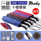 『潮段班』【VR000519】全自動開收三折折疊雨傘 遮陽傘 人體工學晴雨兩用傘 十骨架加大遮雨面積