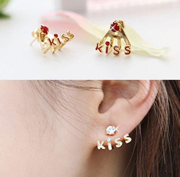 韓版 kiss 字母 耳釘 後嵌式 鑲鑽 耳環 韓國 鋯石