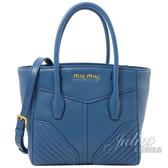 茱麗葉精品【全新現貨】MIU MIU 5BA145 絎縫牛皮肩斜兩用包.藍