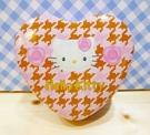【震撼精品百貨】Hello Kitty 凱蒂貓~HELO KITTY鐵盒-心型鐵盒-千鳥格粉
