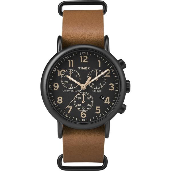 【TIMEX】天美時 Weekender Chrono週末三眼系列計時手錶(黑面/咖啡 TXT2P97500)