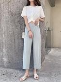 七分褲 冰絲七分褲夏女薄款高腰垂感寬鬆百搭闊腿奶奶九分顯瘦八分直筒褲