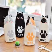 可愛貓咪站立帆布筆袋女創意文具袋便攜拉鍊
