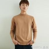 衛衣 半高領毛衣男裝秋冬季羊毛絨長袖打底針織衫寬鬆中領加厚線衣 晶彩